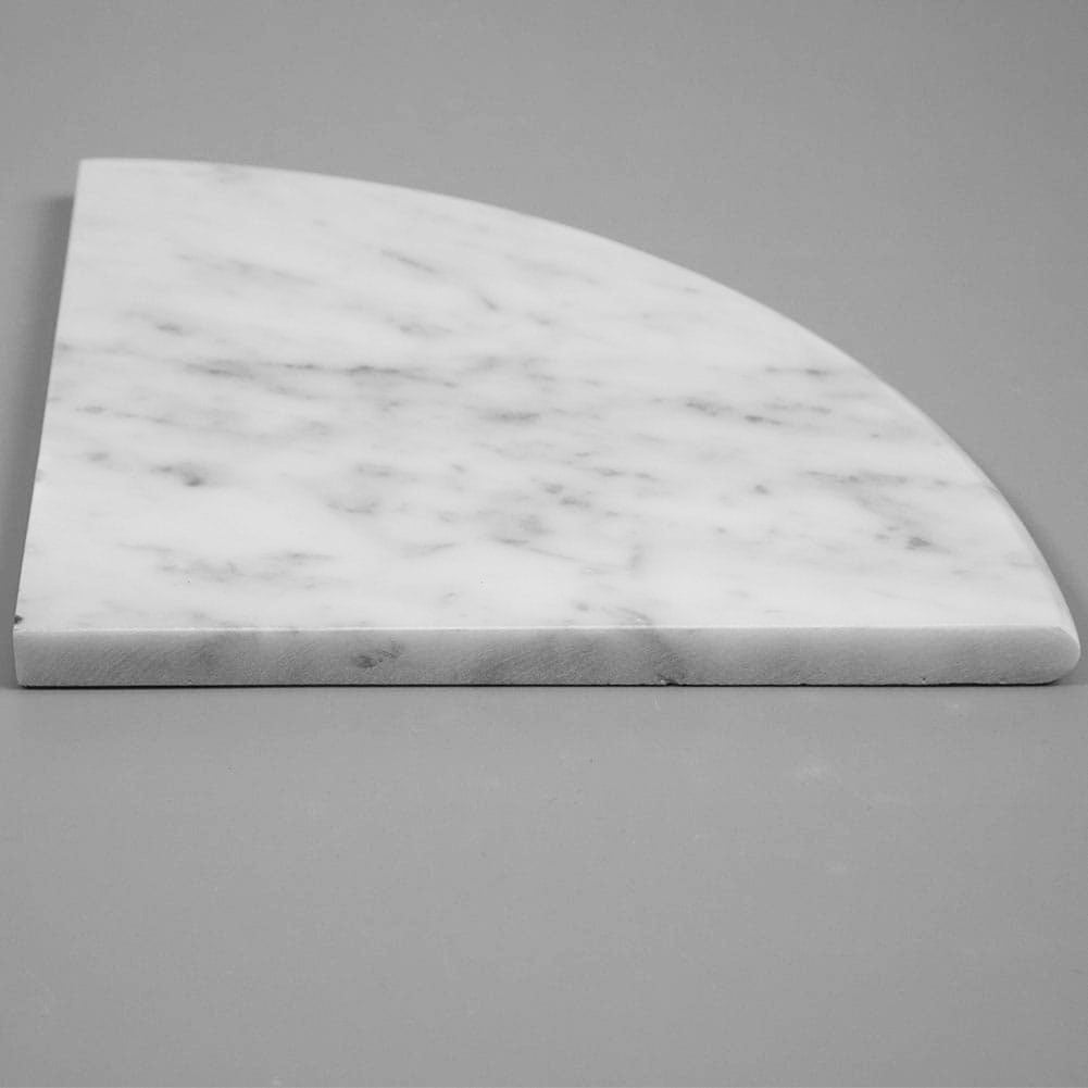 Italian Bianco White Carrara Marble Corner Shelf Polished Round Edge
