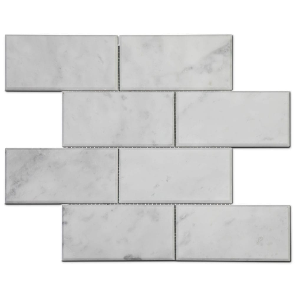 "Carrara White Bianco Carrera Marble 3""×6"" Brick Mosaic Tile Beveled Polished Pack of 5"