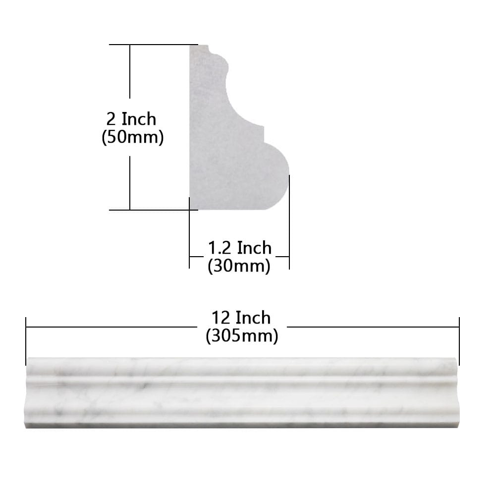 Carrara White Bianco Chair Rail Trim Molding 2x12Inch Polished  Pack of 8