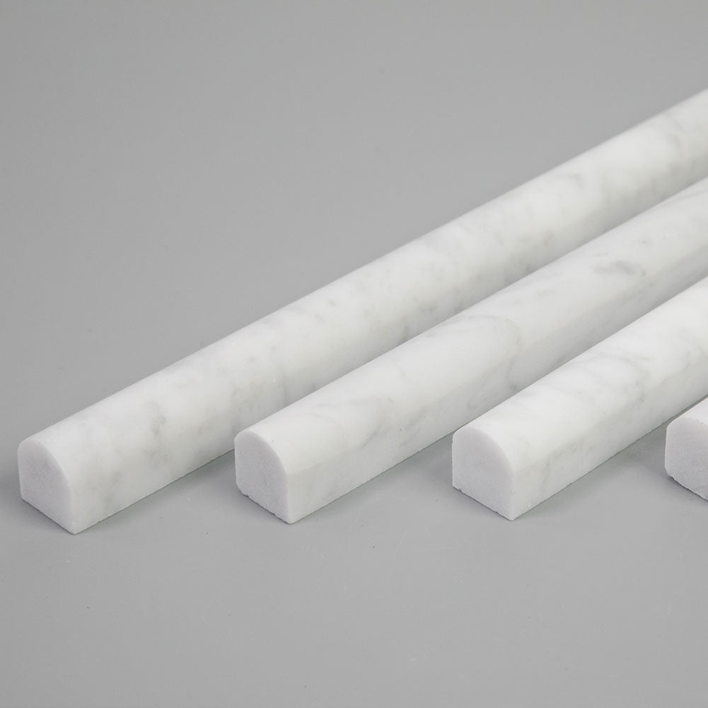 Carrara White Bianco Carrera Marble Pencil Liner Bullnose Tile Trim Polished Pack of 16