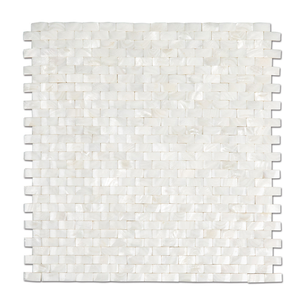 Super White Mother Of Pearl Shell Mosaic 3D Cambered Curved Arched Brick Tile Pack of 10