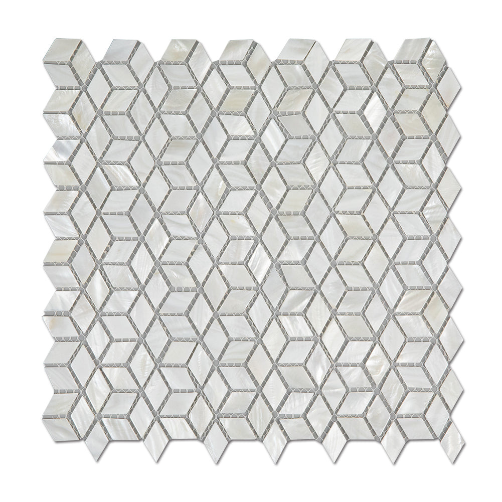 Super White Mother Of Pearl Shell Mosaic Diamond Tile Pack of 10