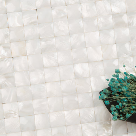 Super White 3D Cambered Curved Arched Square Pearl Shell Mosaic Tile