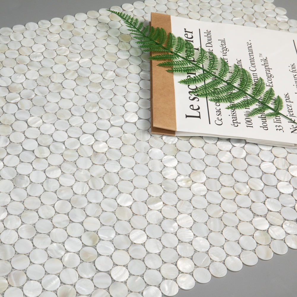 Super White Mother Of Pearl Shell Mosaic Penny Round Tile Pack of 10