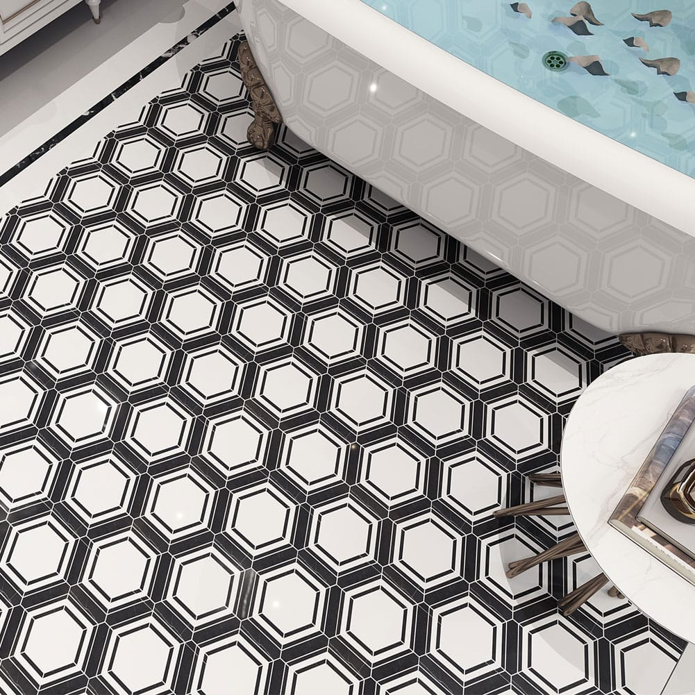 Black & White Hexagon Waterjet Marble Mosaic Tile for Kitchen Backsplash 5-Pack