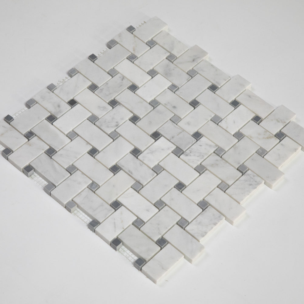"Carrara White Bianco Carrera Marble 1"" x 2"" Basketweave Mosaic Tile with Grey Dots Polished Pack of  5"