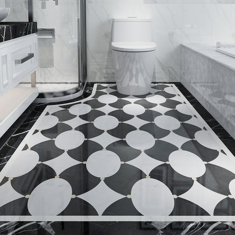 Carrara White & Black Nero Marquina Fish Scale WaterJet Marble Mosaic Tile