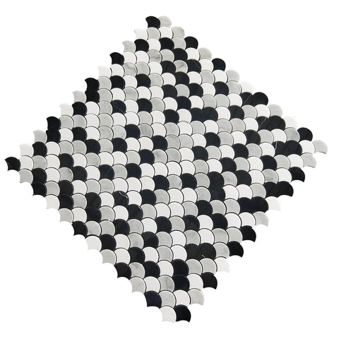 Carrara White & Thassos White & Black Nero Marquina Fan-Shaped WaterJet Marble Mosaic Tile
