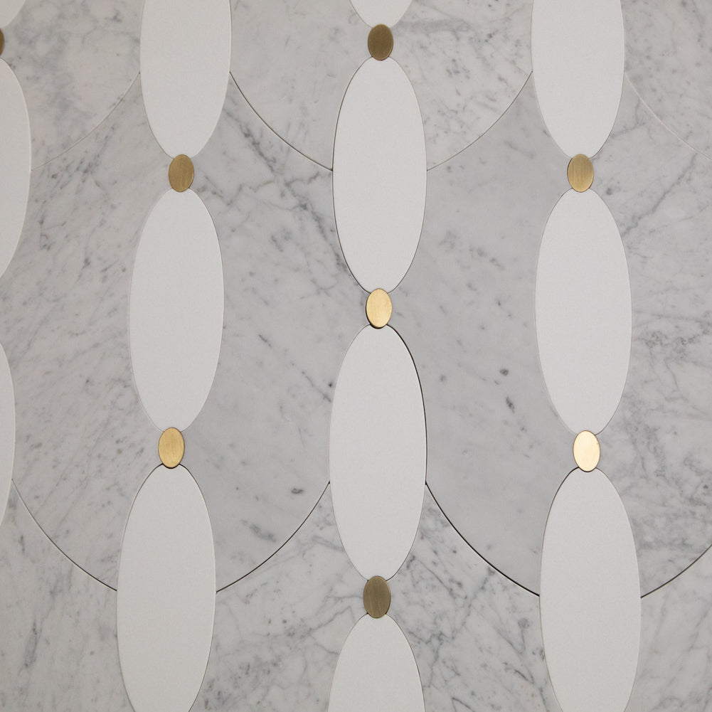 Carrara White Italian Carrera Marble with Brass Crystallized Glass Waterjet Mosaic Tile Polished