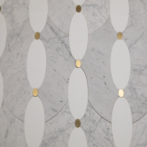 Carrara White Marble with Brass Crystallized Glass WaterJet Mosaic Tile