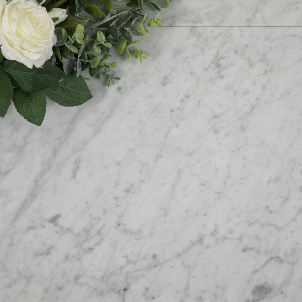 Diflart Carrara White Italian Bianco Carrera Marble Beleved 12x 24 Floor Wall Tile Honed Pack of 2