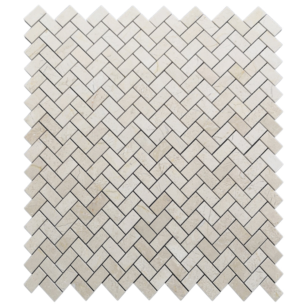 "Crema Marfil 1""× 2"" Herringbone Marble Tile Polished (166 sq.ft.) (180 Sheets)"