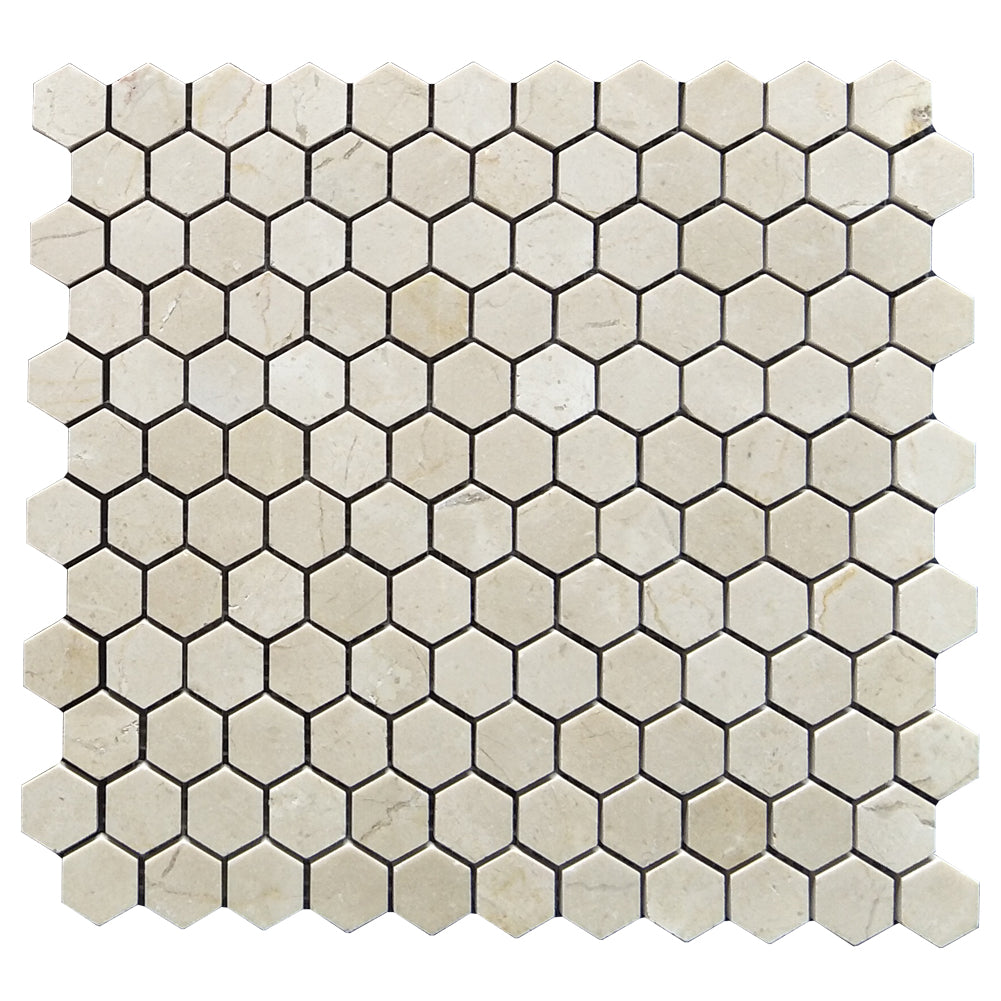 Crema Marfil 1 inch Hexagon Marble Tile Polished (161 sq.ft.) (180 Sheets)