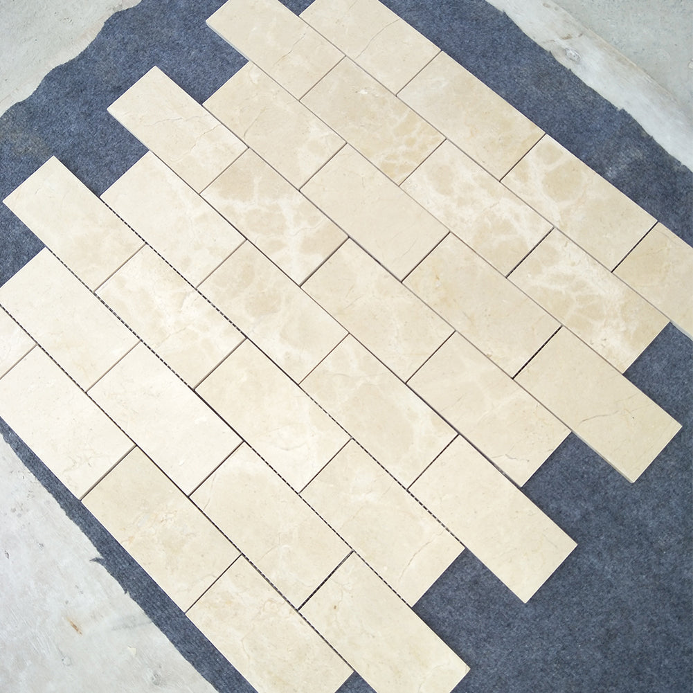 "Crema Marfil 3""× 6"" Brick Subway Marble Tile (180 sq.ft.)"