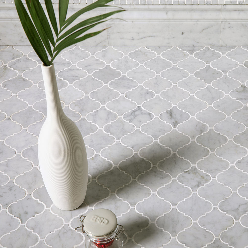"Arabesque Carrara Mosaic Tile 3""x3"""