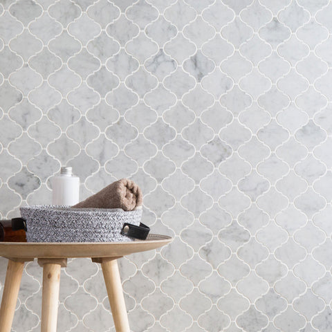 Arabesque Carrara Mosaic Tile 3