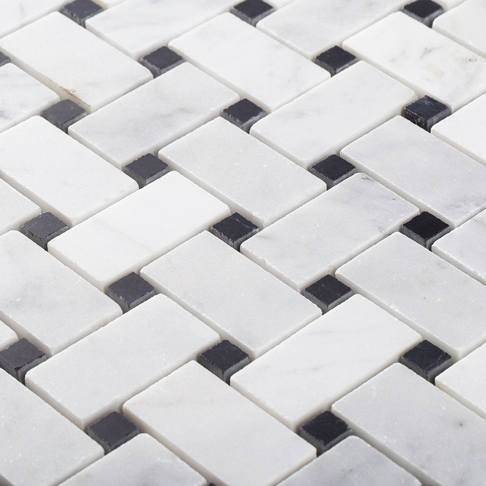 "Carrara White Bianco Carrera Marble 1"" × 2"" Basketweave Mosaic Tile with Black Dots Polished Pack of  5"