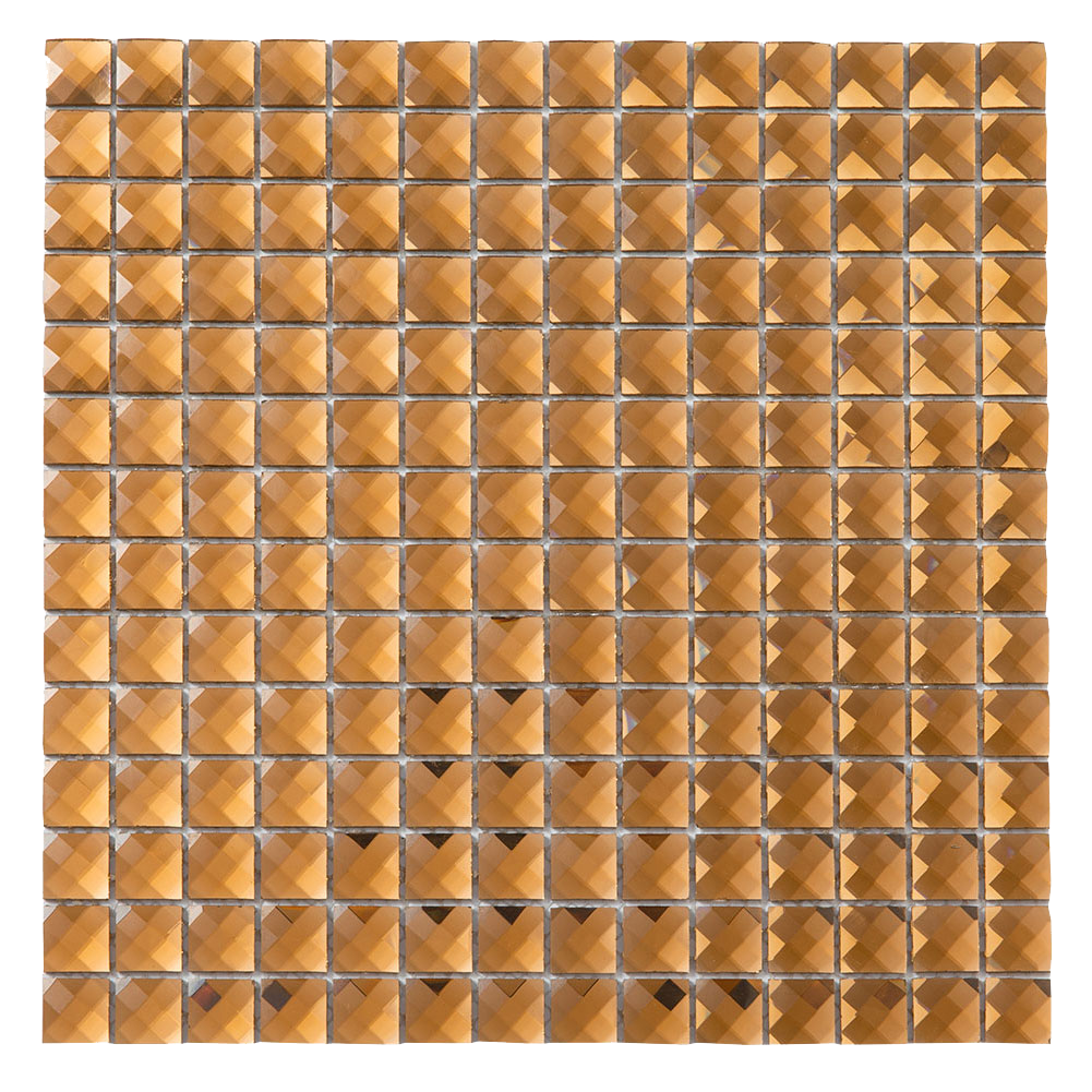 13 Facet Brown Bling Glass Mirror Mosaic Tile