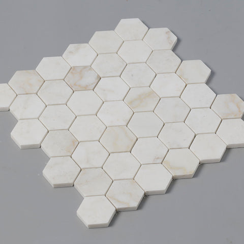 Calacatta Pindos Marble 2 inch Hexagon Mosaic Tile Pack of 5