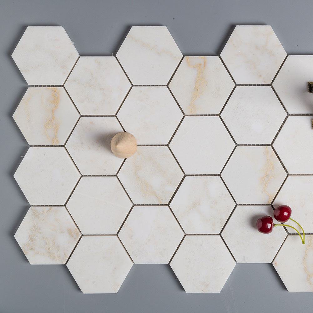 Calacatta Pindos Marble 3 inch Hexagon Mosaic Tile Pack of 5