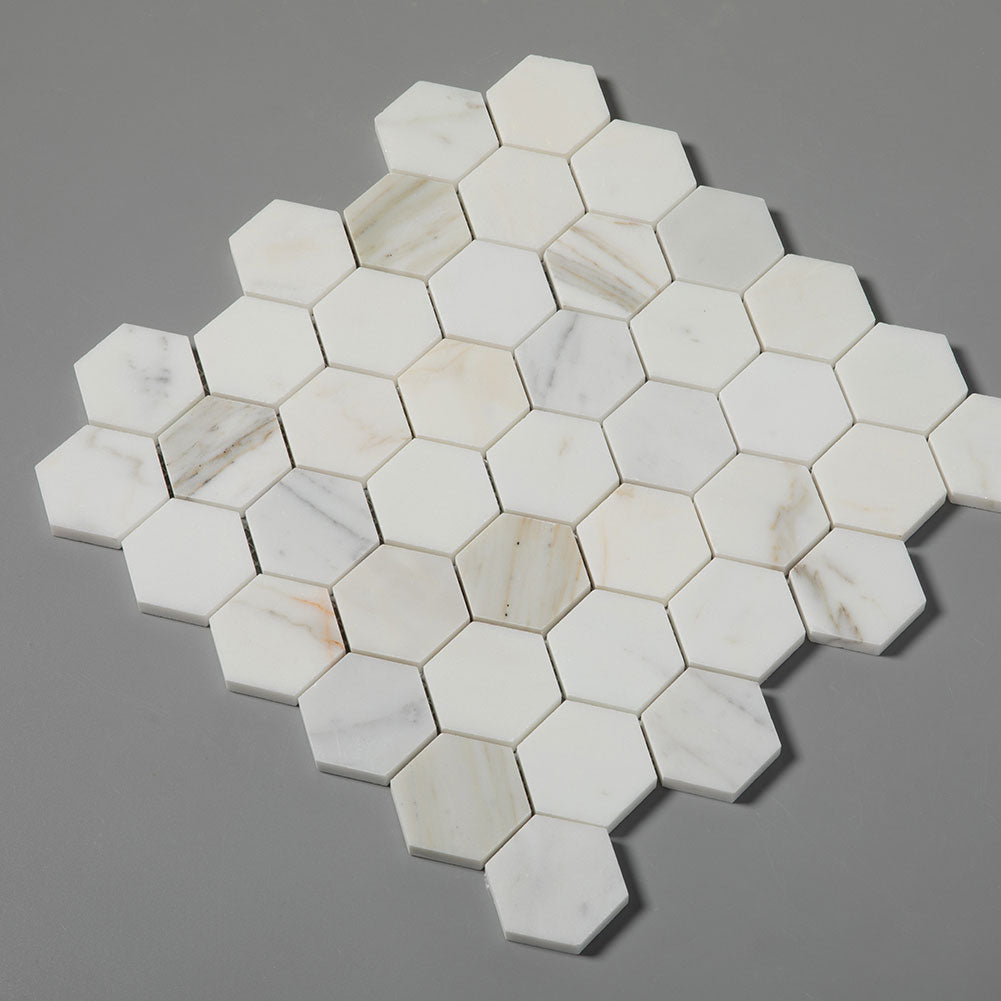 Calacatta Gold Marble 2 inch Hexagon Mosaic Tile Pack of 5