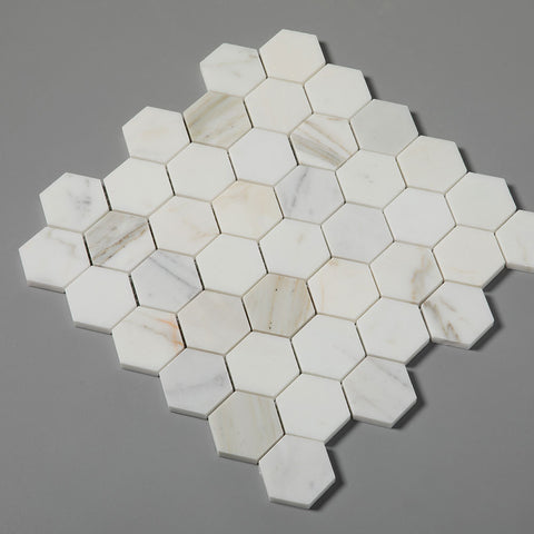 Hexagon Calacatta Gold Mosaic Tile 2 inch