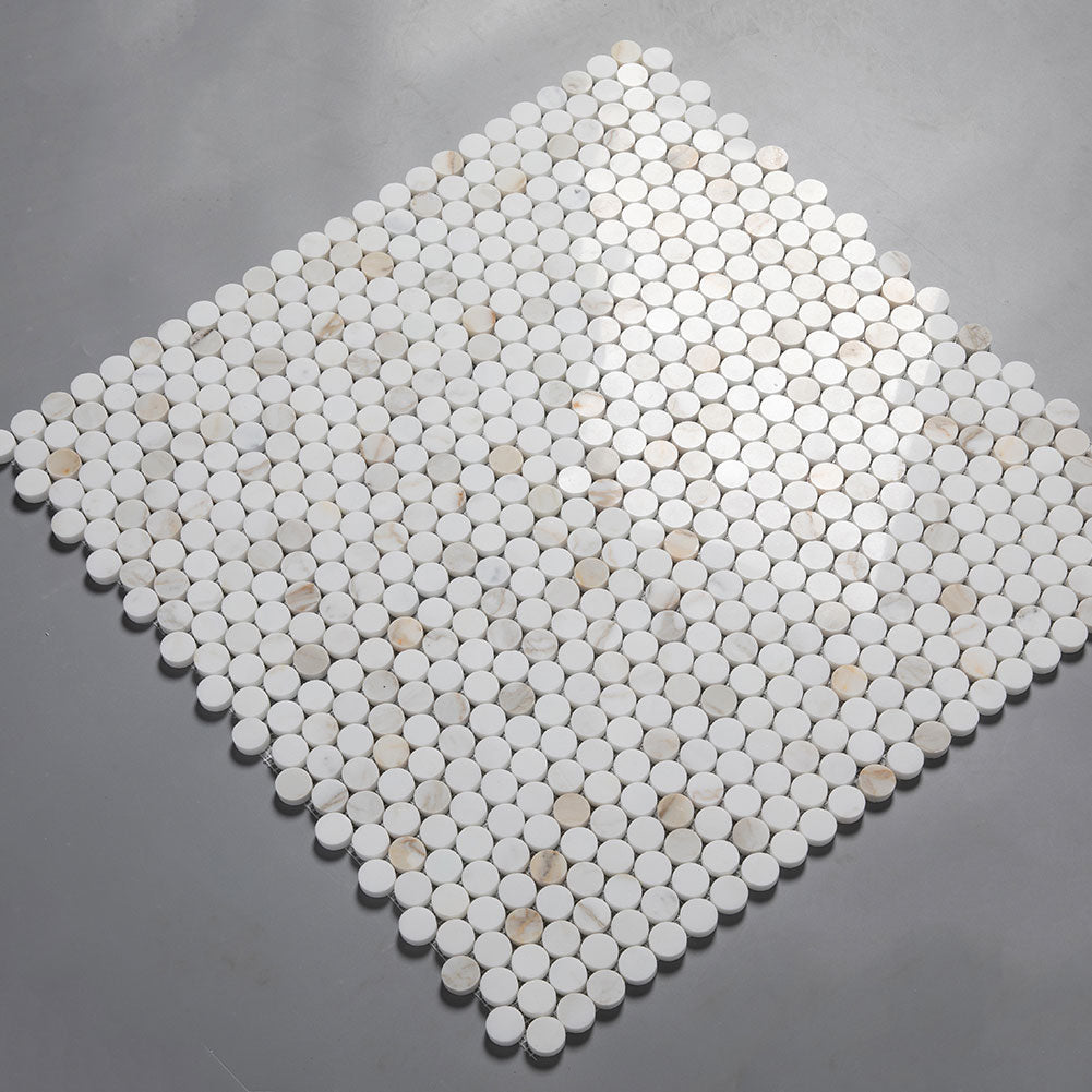 Calacatta Gold Marble 1 inch Penny Round Mosaic Tile Pack of 5