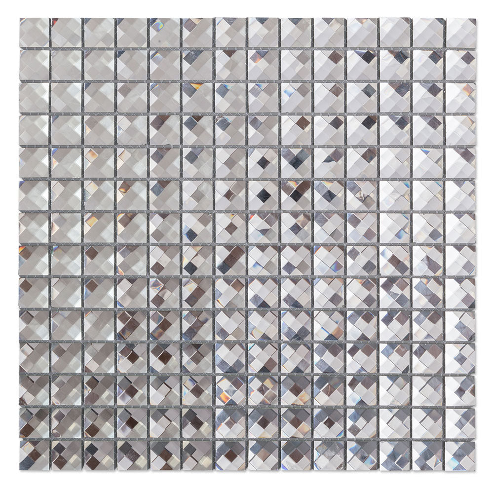 13 Facet Silver Bling Glass Mirror Mosaic Tile