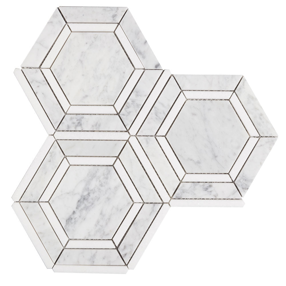 Hexagon Appeal White Marble Mosaic Tile