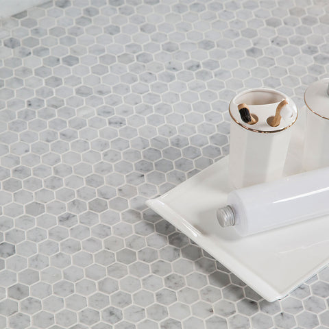 Hexagon Carrara Marble Tile 1 inch