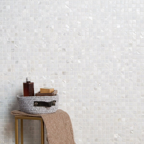 Pure White Square Pearl Shell Mosaic Tile  (33 Sheets)