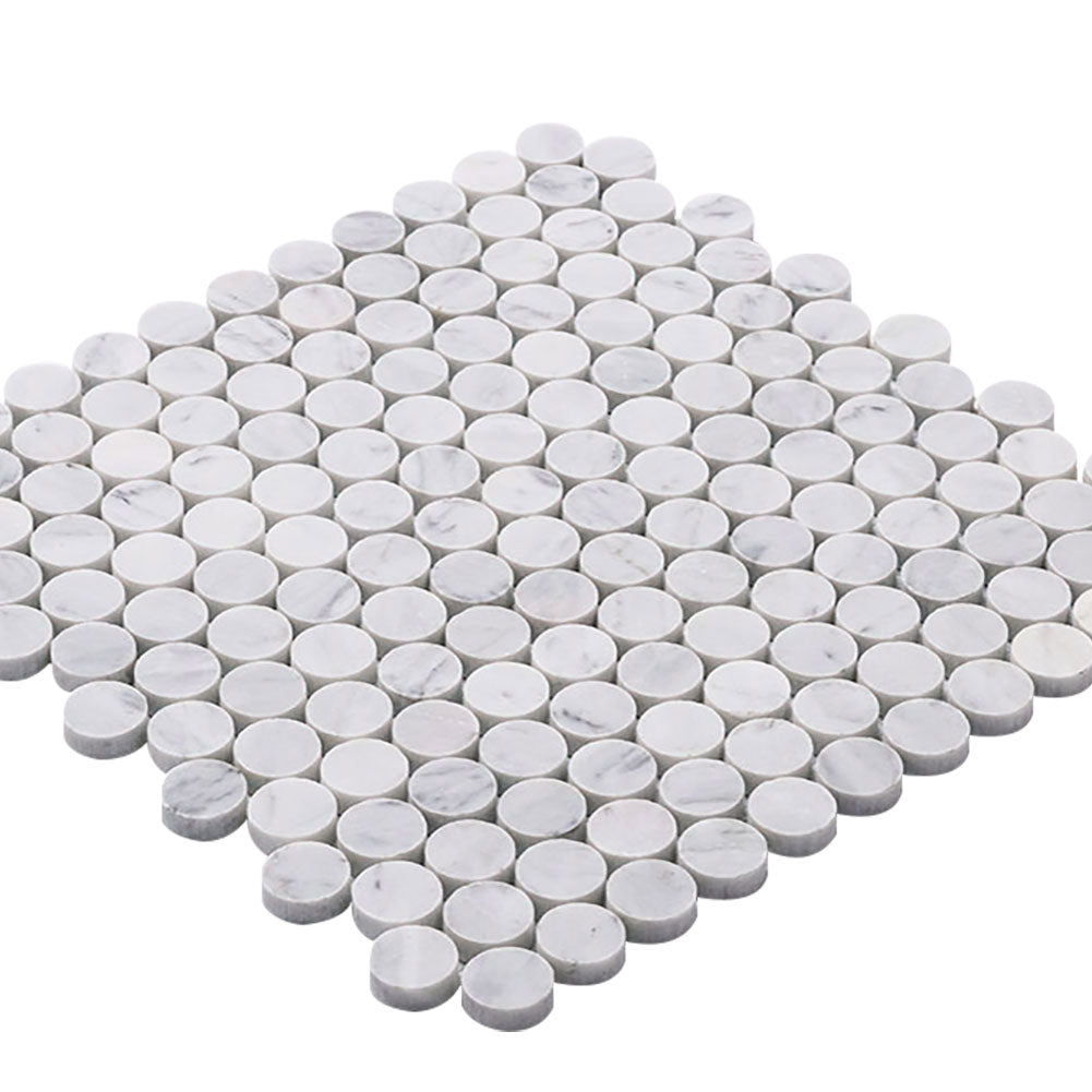 Carrara White Bianco Carrera Marble 1 inch Penny Round Mosaic Tile Pack of 5