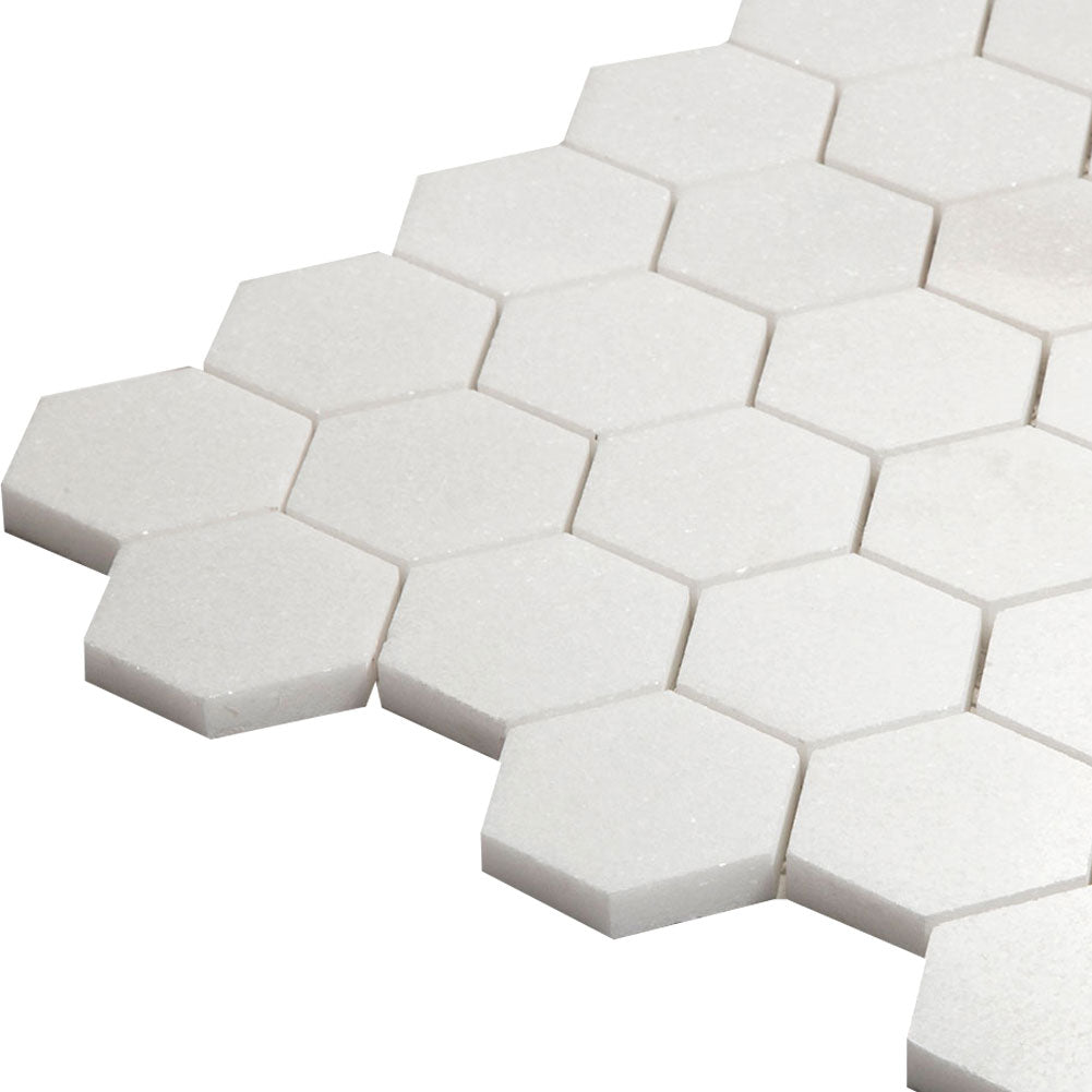 Thassos White Marble 2 inch Hexagon Mosaic Tile