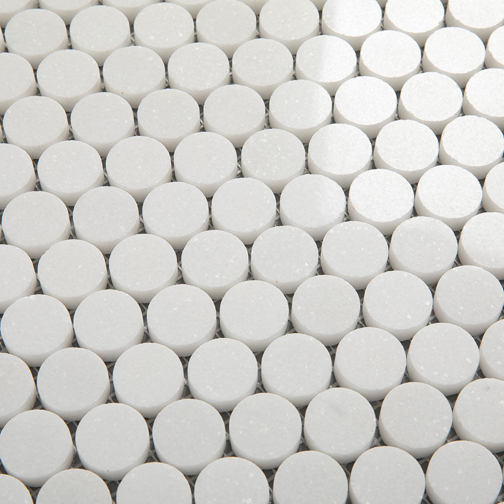 Thassos White Marble 1 inch Penny Round Mosaic Tile Pack of 5