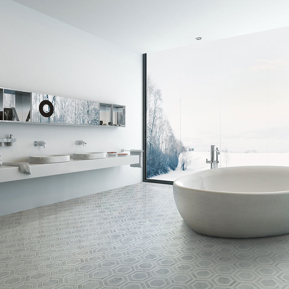 Carrara White & Thassos White Hexagon WaterJet Marble Mosaic Tile