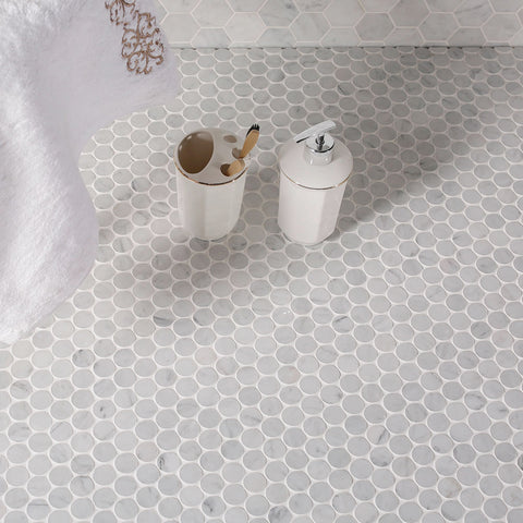 Penny Round Carrara Marble Mosaic Tile 1