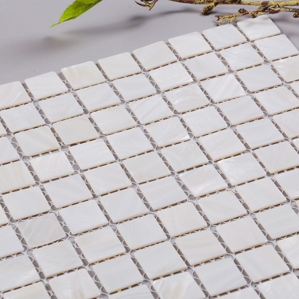 Pure White Square Pearl Shell Mosaic Tile  (10 Sheets)