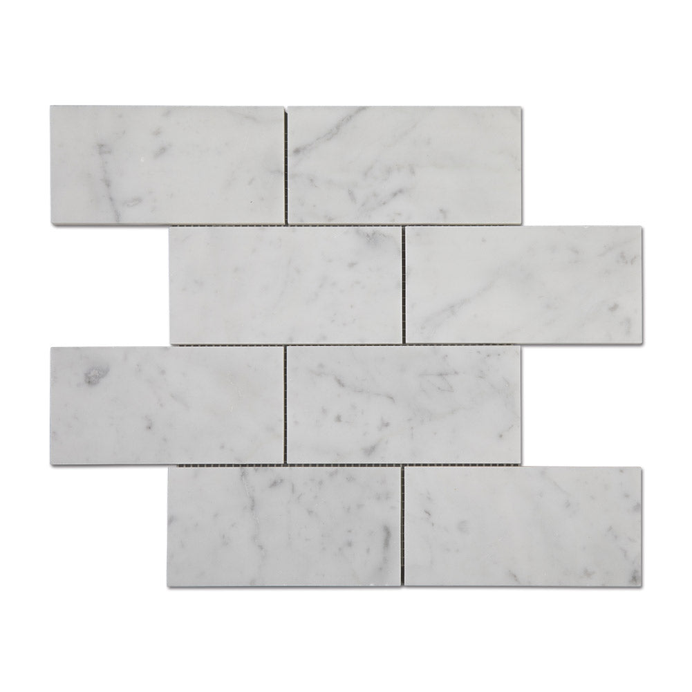 "Carrara White Bianco Carrera Marble 3""×6"" Brick Mosaic Tile Polished Pack of 5"
