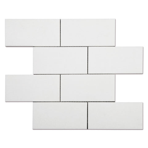Thassos White Marble 3x6 inch Subway Mosaic Tile Pack of 5