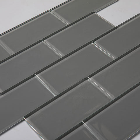3x6 Smoke Grey Glass Subway Tile