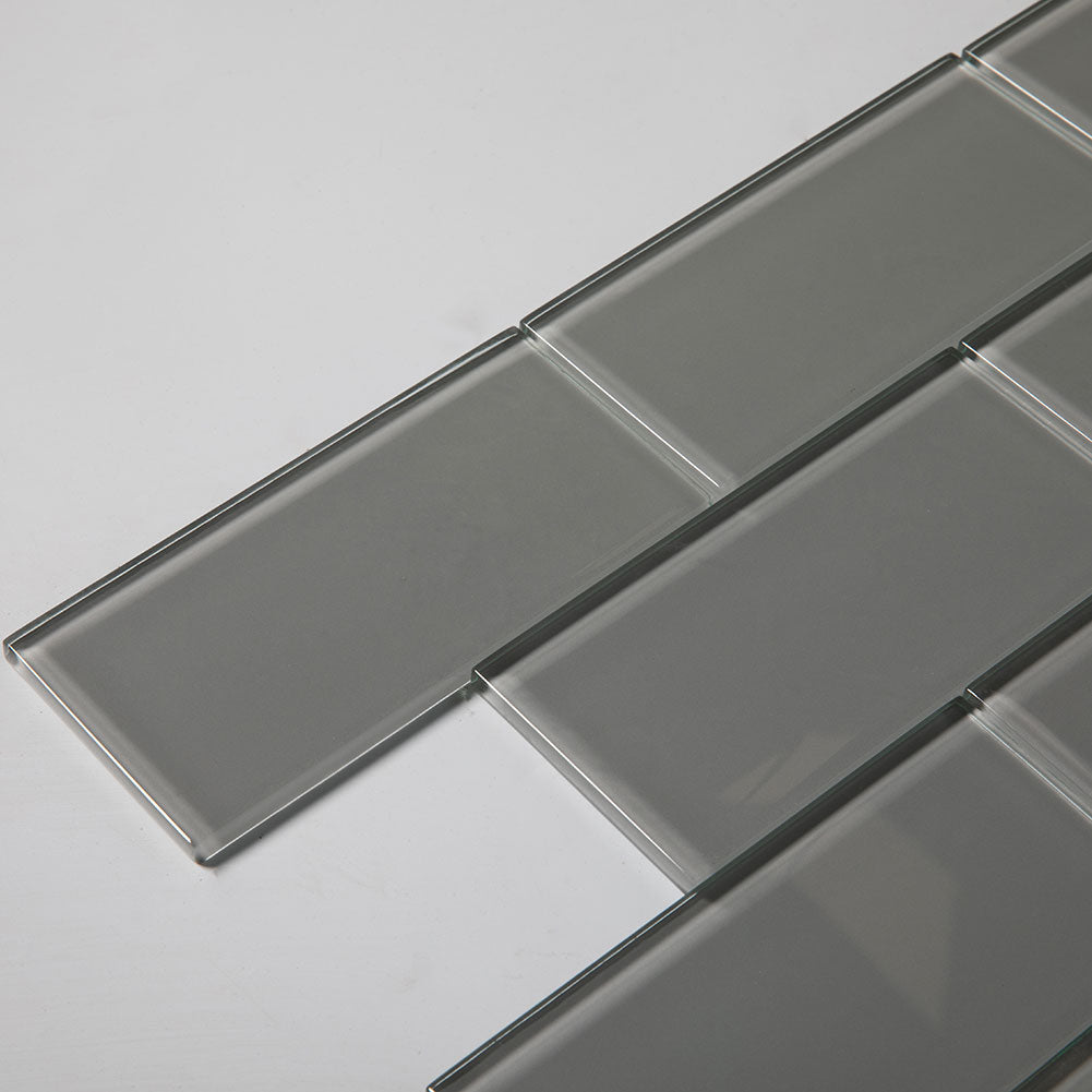 3x6 Smoke Grey Glass Subway Tile Pack of 40 (5 sq.ft)