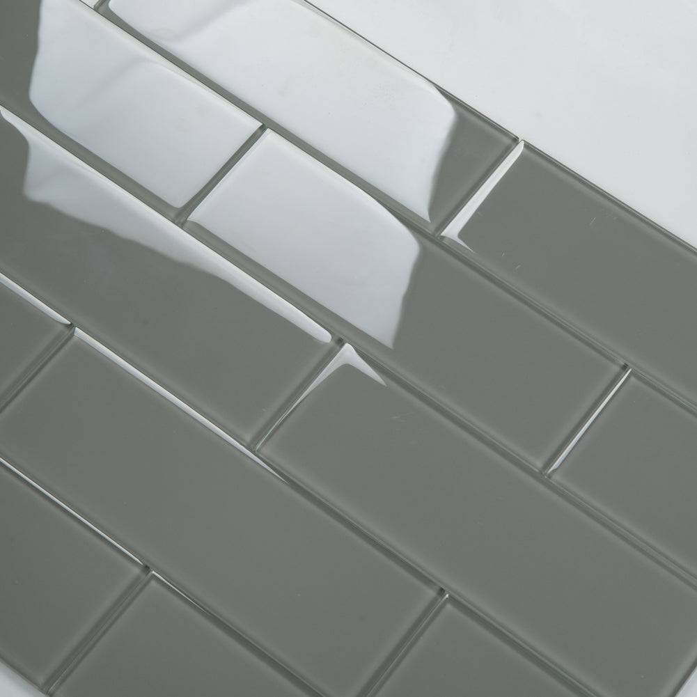 4 x12 Smoke Grey Glass Tile Subway Tile Pack of 15 (5 sq.ft)