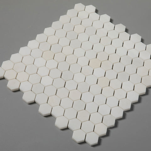 Royal White Marble 1 inch Hexagon Mosaic Tile Pack of 5