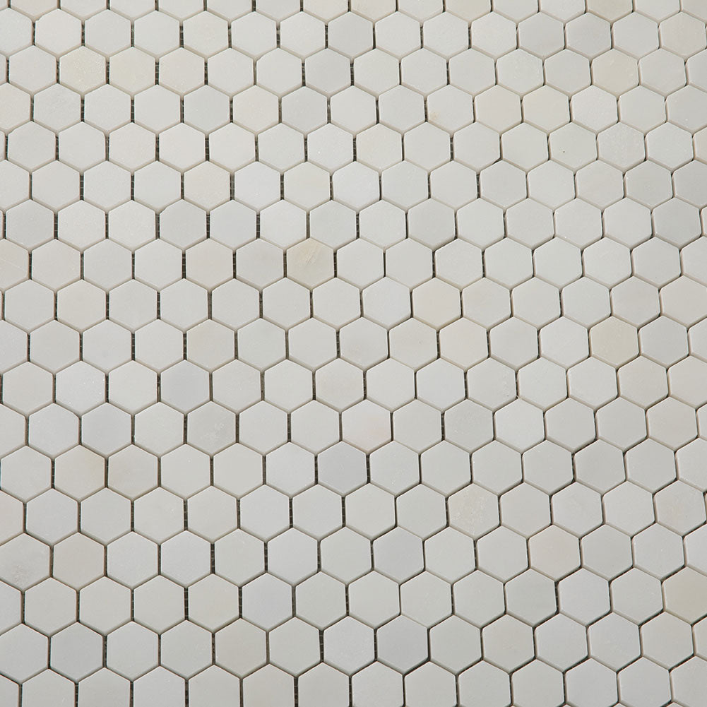 Hexagon Royal White Marble Tile 1 inch