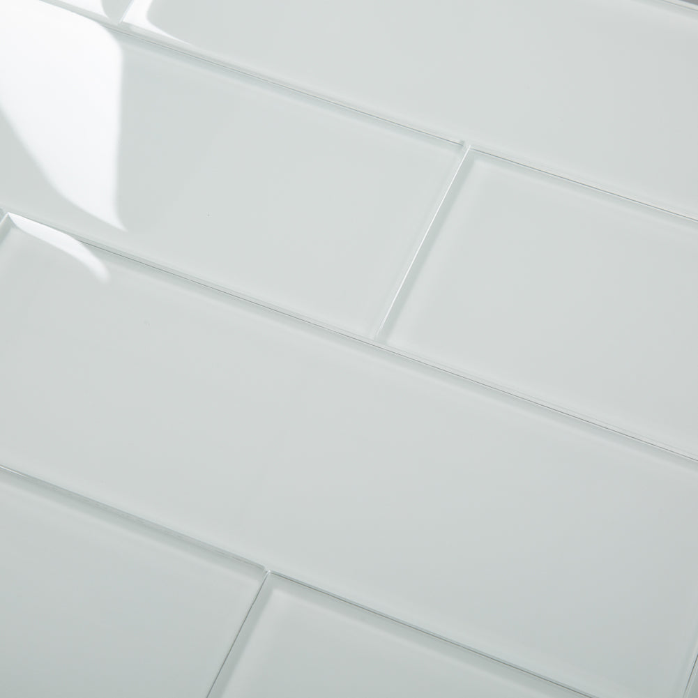 4 x12 White Glass Tile Subway Tile Pack of 15 (5 sq.ft)