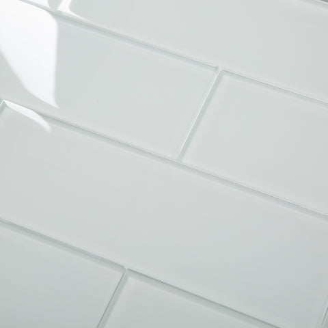 4x12 White Glass Tile Subway Tile Pack of 15 (5 sq.ft)
