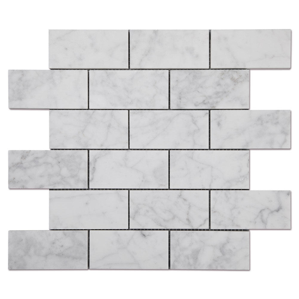 "Carrara White Bianco Carrera Marble 2"" × 4"" Brick Mosaic Tile Pack of 5"