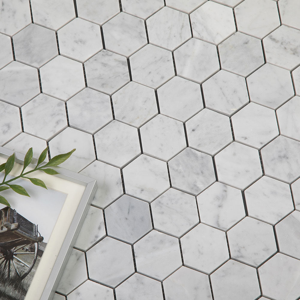 Carrara White Bianco Carrera Marble 2 inch Hexagon Mosaic Tile Pack of  5