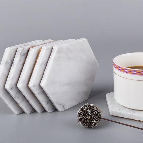 Carrara Marble Coaster 6 Pack