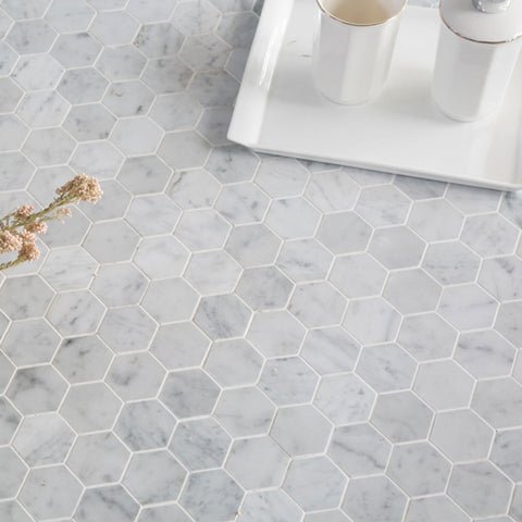 Hexagon Carrara Marble Tile 2 inch